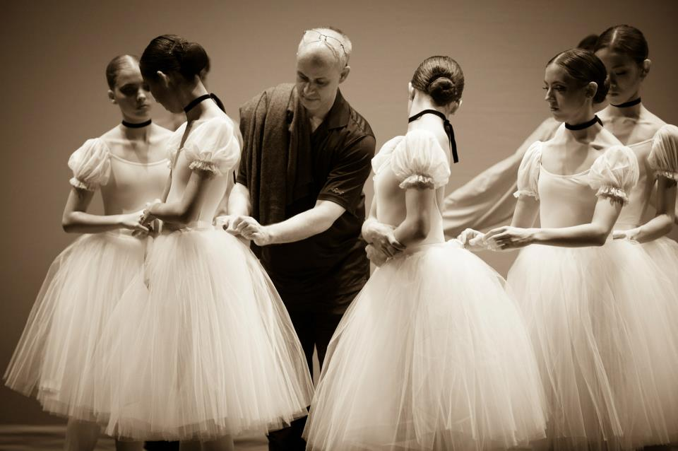 Artistic Director Edward Ellison with students in tutus